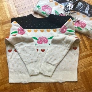 Wildfox NWT sweater rose hearts distressed knit M